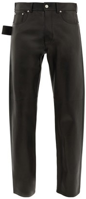 Bottega Veneta V-stitched Leather Trousers - Black