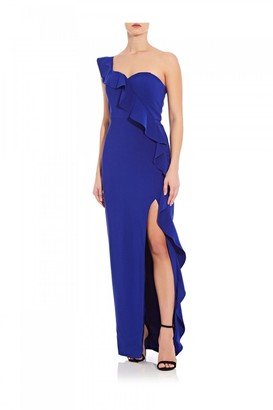 Aidan Mattox Flounce Crepe Column Dress