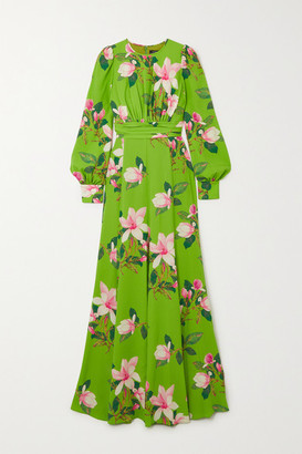 Andrew Gn Floral-print Silk-crepe Gown - Green