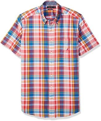 Nautica Men's Big Short Sleeve Slim Fit Plaid Button Down Shirt