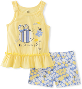 Kids Headquarters Yellow Bee Tank & Gray Floral Shorts - Toddler & Girls