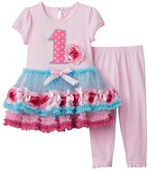 "Nannette Baby Girl Embroidered ""1"" Rosette Dress & Leggings Set"