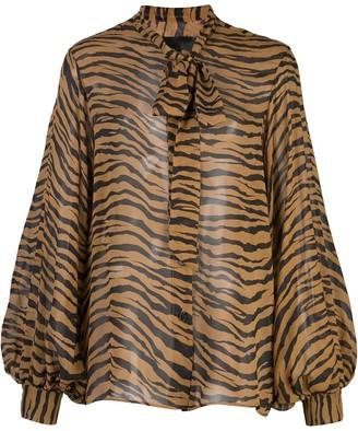 Nili Lotan Tiger Print Bow Tie Blouse