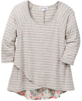 Ten Sixty Sherman Stripe Surplice Hem Top (Big Girls)