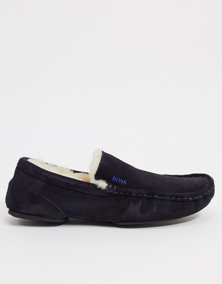 BOSS relaced moccasin slippers
