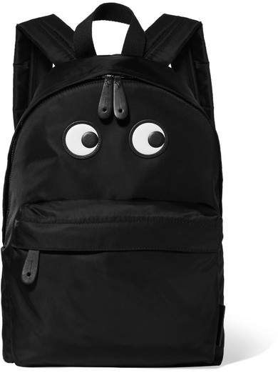 Anya Hindmarch Eyes Textured Leather-trimmed Shell Backpack - Black