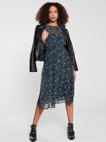 Very Shirred Waist Midi Dress - Floral