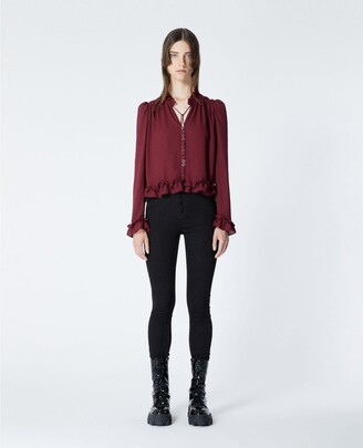 The Kooples Flowing burgundy shirt with frills