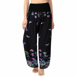Toamen Pants Toamen Women's Elastic Waist Harem Pants Sale Comfy Stretch Floral Print High Waist Palazzo Wide Leg Trousers Yoga Sports(Multicolor 12 XL)