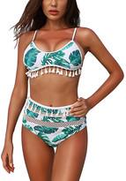 D.Cer Women's Bikini Bottoms green - Green Palm Mesh-Stripe Tassel Bikini Top & Bottoms - Women