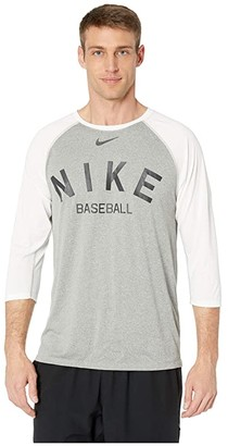Nike Dry Tee Legend Raglan Cross-Dye (Dark Grey Heather/White) Men's Clothing