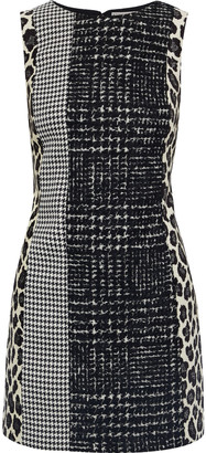 Alice + Olivia Clyde Wool-blend Tweed, Houndstooth Woven And Leopard-jacquard Mini Dress