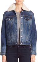 AG Jeans Mya Shearling Collar Denim Jacket