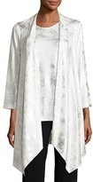 Caroline Rose Silver Cloud Drape-Knit Cardigan, White/Silver