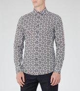 Reiss Reiss Merci - Geometric Print Shirt In Blue