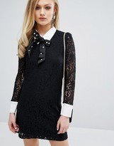 Sister Jane Lace Dress With Collar And Sparkle Bow