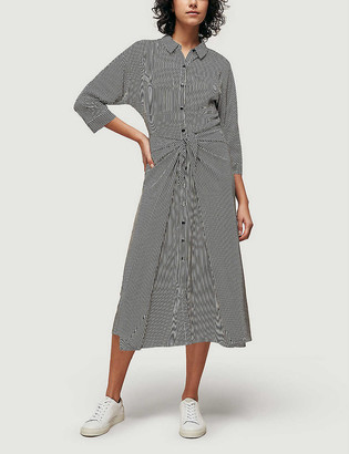 Whistles Selma striped tie-front crepe midi dress