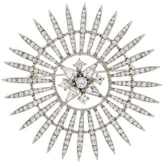 Oscar de la Renta Silvertone Pave Crystal Sunburst Brooch