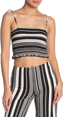 Dee Elly Striped Smocked Cami Crop Top