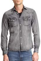 The Kooples Dark Wash Denim Button-Down Shirt