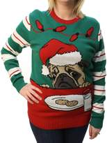 Ugly Christas Sweater Plus Size Woen's Pug Cookies Light Up Pullover Sweatshirt-ediu
