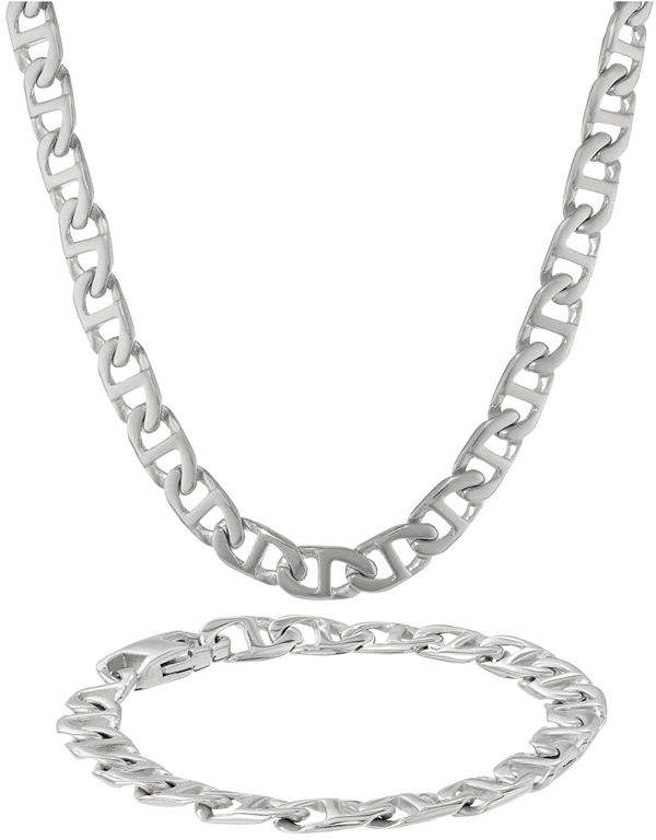 JCPenney FINE JEWELRY Mens Stainless Steel 10mm Marine Link Chain & Bracelet Boxed Set