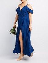 Charlotte Russe Plus Size Surplice Cold Shoulder Maxi Dress