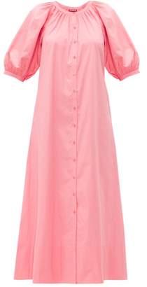 STAUD Vincent Cotton-poplin Midi Shirtdress - Womens - Light Pink