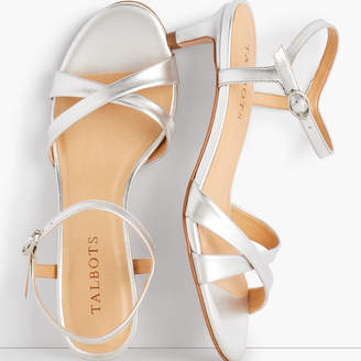 Talbots Pila Criss-Cross Leather Sandals - Metallic