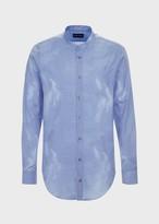 Emporio Armani Cotton Jacquard Shirt With Cloud Effect