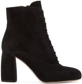 Miu Miu Black Suede Lace-Up Boots