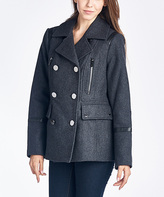 Michael Kors Charcoal Faux Leather-Accent Wool-Blend Peacoat