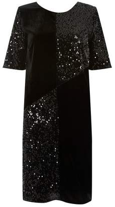 Dorothy Perkins Womens **Tall Black Cut About Sequin Velvet Shift Dress, Black