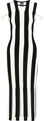 Christopher Kane Cold-shoulder Fringed Striped Stretch-knit Midi Dress