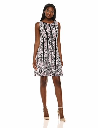 Connected Apparel Women's Floral Sleeveless Round Neck Flare Dress