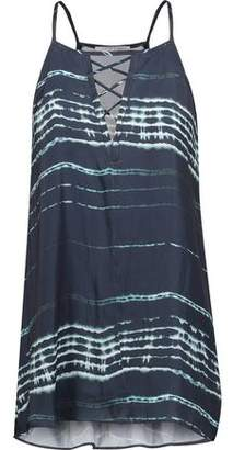 Tart Collections Ione Lace-up Tie-dye Washed Crepe De Chine Top
