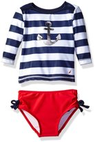Nautica Girls' Long Sleeve Rashguard Set with Anchor Stripe Top and Solid Bikini Bottom
