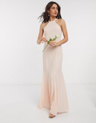TFNC bridesmaid high neck maxi dress in light blush