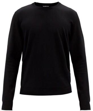 Balenciaga Bb Logo-jacquard Wool Sweater - Black