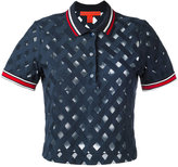 Hilfiger Collection sheer ribbed polo top