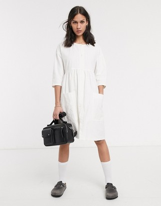 L.F. Markey samuel smock mini dress in white