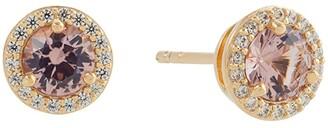 Michael Kors Sterling Silver Pave Halo Stud Earrings (14K Rose Gold Plating) Earring