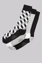 Moss Bros Black & White 3 Pack Geo Socks