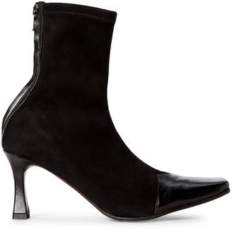 Alberto Zago Black Stretch Suede Ankle Booties