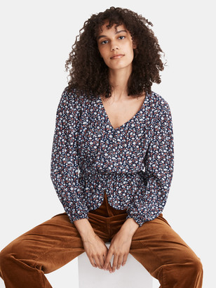 Madewell Puff Sleeve Button Front Top