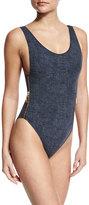 OYE Swimwear Zissou Zipper-Side One-Piece Swimsuit, Denim