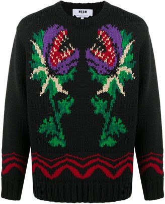 MSGM Monster Flower Intarsia Jumper