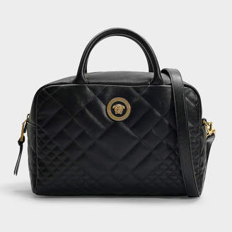 Versace Bowling Bag In Black Quilted Lamb Leather