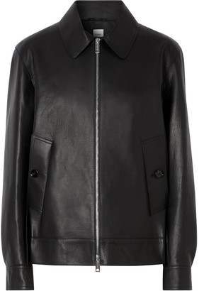 Burberry collared leather jacket