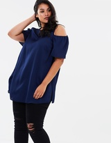Satin Cold Shoulder Top